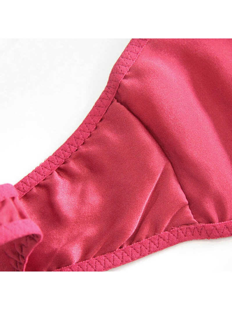 T-back Silk Panty with Embroidered Flowers