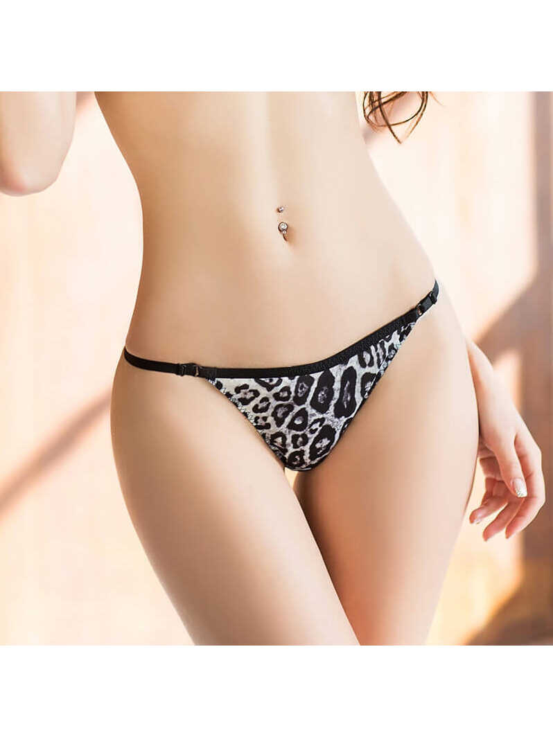 Leopard Printed Seamless Silk Thong Panty