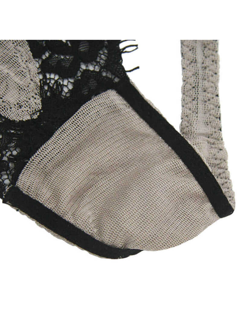 Eyelash Lace Silk Thong