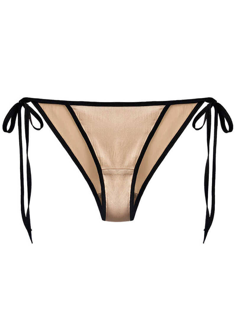 Cheeky Lace-up Charmeuse Silk Panty