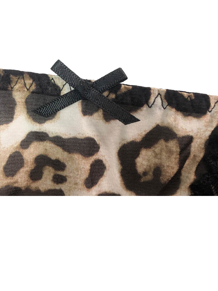 Leopard Printed Mesh and Lace Silk Panty